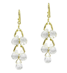 Gold Plated Sterling Silver Teardrops Two Tier Wire-Wrapped Earrings, Clear