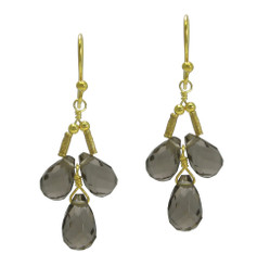 Gold Plated Sterling Silver Teardrops Three Stone Wire-Wrapped Earrings, Smoke