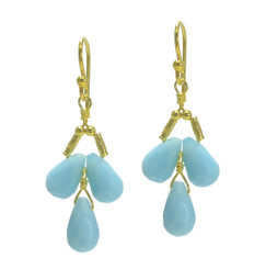 Gold Plated Sterling Silver Teardrops Three Stone Wire-Wrapped Earrings, Sky Blue