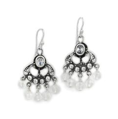 "Sterling Silver and Beaded Drops ""Francine"" Earrings, Clear Crystal"