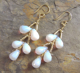 Gold Plated Sterling Silver Teardrops Two Tier Wire-Wrapped Earrings, White Iridescent