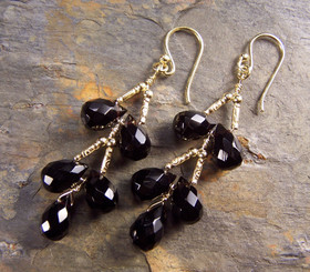 Gold Plated Sterling Silver Teardrops Two Tier Wire-Wrapped Earrings, Black
