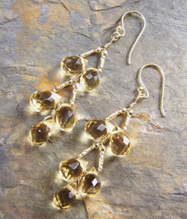 Gold Plated Sterling Silver Teardrops Two Tier Wire-Wrapped Earrings, Yellow