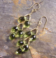 Gold Plated Sterling Silver Teardrops Two Tier Wire-Wrapped Earrings, Spring Green
