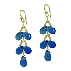 Gold Plated Sterling Silver Teardrops Two Tier Wire-Wrapped Earrings, Midnight Blue