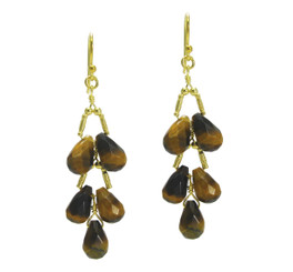 Gold Plated Sterling Silver Teardrops Two Tier Wire-Wrapped Earrings, Tiger's Eye