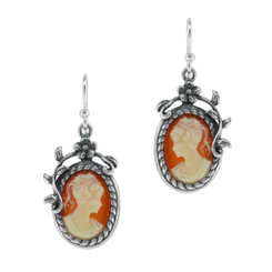 Flower Vine Resin Cameo Earrings, Corn