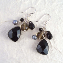 Sterling Silver Lilith Cluster and Drop Earrings, Black