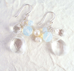 Sterling Silver Lilith Cluster and Drop Earrings, Clear