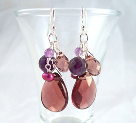 Sterling Silver Lilith Cluster and Drop Earrings, Purple
