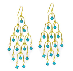 Gold Plated Sterling Silver Arches Swarovski Drop Earrings, Teal