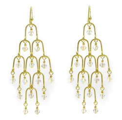 Gold Plated Sterling Silver Arches and Crystal Chandelier Earrings, Clear Aurore Boreale