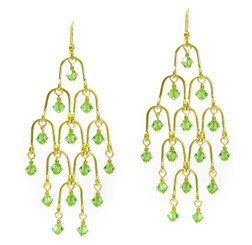 Gold Plated Sterling Silver Arches and Crystal Chandelier Earrings, Spring Green