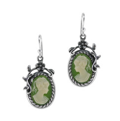 Flower Vine Resin Cameo Earrings, Green