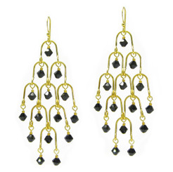 Gold Plated Sterling Silver Arches Swarovski Drop Earrings, Jet Black