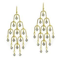 Gold Plated Sterling Silver Arches Swarovski Drop Earrings, Smoke