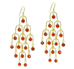 Gold Plated Sterling Silver Arches Stone Chandelier Drop Earrings, Carnelian