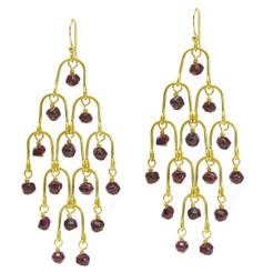 Gold Plated Sterling Silver Arches Stone Chandelier Drop Earrings, Garnet