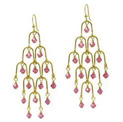 Gold Plated Sterling Silver Arches Swarovski Drop Earrings, Pink