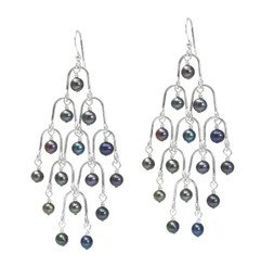 Sterling Silver Arches and Pearl Chandelier Drop Earrings, Peacock