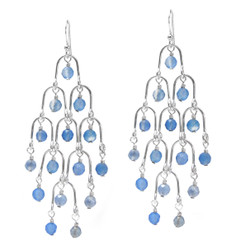 Sterling Silver Arches and Crystals Chandelier Earrings, Blue Quartz