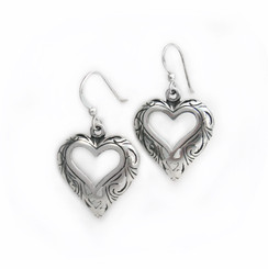 Sterling Silver Open Heart Wave Swirls Drop Earrings