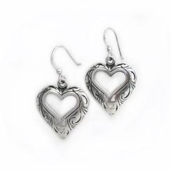 Sterling Silver Open Heart Wave Swirls Drop Earrings