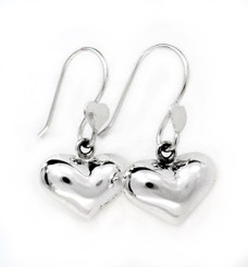 Sterling Silver Puff Heart Drop Earrings