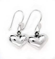 Sterling Silver Puff Heart Drop Earrings