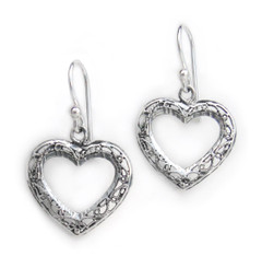 Sterling Silver Filigree Open Heart Drop Earrings