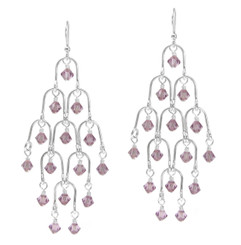 Sterling Silver Arches and Crystal Chandelier Earrings, Light Purple