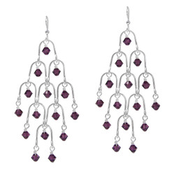 Sterling Silver Arches and Crystal Chandelier Earrings, Purple