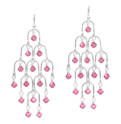 Sterling Silver Arches and Crystal Chandelier Earrings, Rose Pink