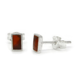 Sterling Silver Everyday Stone Inlay Rectangle Stud Post Earrings, Carnelian