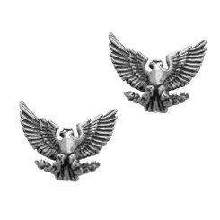 Sterling Silver Eagle Presidential Crest Stud Post Earrings