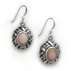 """Sterling Silver Shell and Woven Frame """"Arlene"""" Earrings, Pink Shell"""