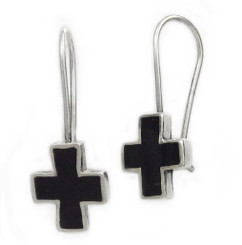 Sterling Silver Enamel Cross French Hook Earrings, Black