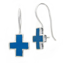 Sterling Silver Enamel Cross French Hook Earrings, Blue