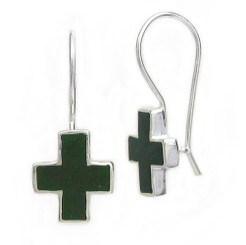 Sterling Silver Enamel Cross French Hook Earrings, Green