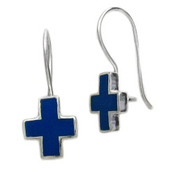 Sterling Silver Enamel Cross French Hook Earrings, Navy