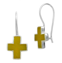 Sterling Silver Enamel Cross French Hook Earrings, Yellow