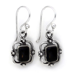Sterling Silver Carine Rectangle Stone Drop Earrings, Onyx
