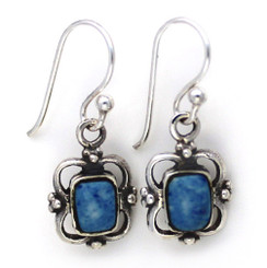 Sterling Silver Carine Rectangle Stone Drop Earrings, Denim Lapis