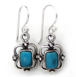 Sterling Silver Carine Rectangle Stone Drop Earrings, Turquoise