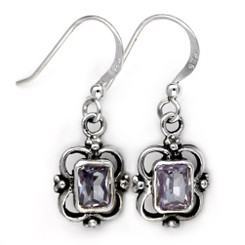 Sterling Silver Carine Rectangle Crystal Drop Earrings, Lavender