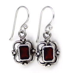 Sterling Silver Carine Rectangle Crystal Drop Earrings, Red