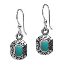 Sterling Silver Devona Rectangle Stone Drop Earrings, Turquoise