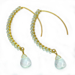 Gold-plated Sterling Silver Crystal Drop Beaded Elliptical Hook Earrings, Aqua