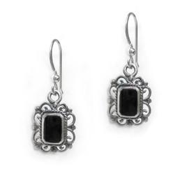 Sterling Silver Eudora  Rectangle Stone Filigree Drop Earrings, Onyx