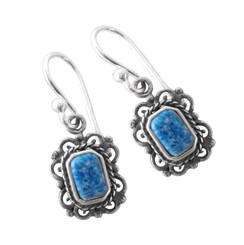 Sterling Silver Eudora  Rectangle Stone Filigree Drop Earrings, Denim Lapis